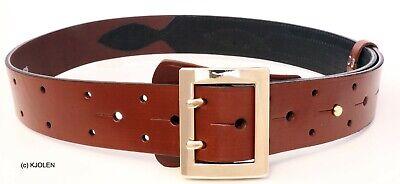Polish Full Grain Bullhide Leather Santa Claus Pirate Military Belt Double Prong 3