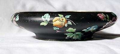 S Hancock & Sons Coronaware Peony Bowl Black Background 30cm / 12 Inch 1912-1937