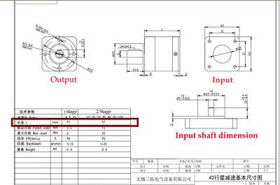5:1 Planetary Gearbox Nema17 Speed Reducer Gear Head for BYG42 Stepper Motor 3