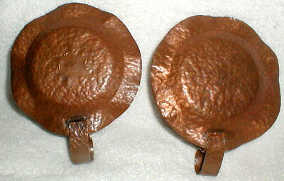 Awesome Pair Arts & Crafts Hammered Copper Candle Holders 3