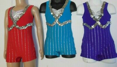 NWOT Turquoise Blue Foil Glittered Jazz Costume Top Small adult Wolff Fording