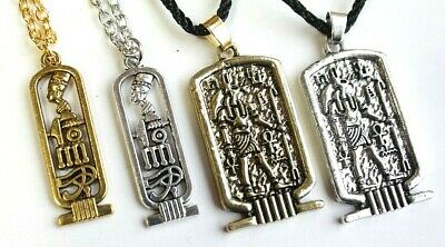 Cartouche Ancient Egyptian Pendant Necklace Ankh Egypt Anubis God Wicca Jewelry 6