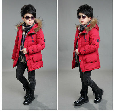 Warm Winter Boys Kids Hooded Warm Quilted Puffer Coat Jacket School Trendy Parka 8