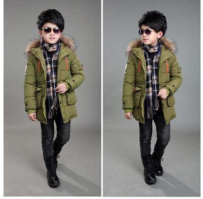 Warm Winter Boys Kids Hooded Warm Quilted Puffer Coat Jacket School Trendy Parka 7