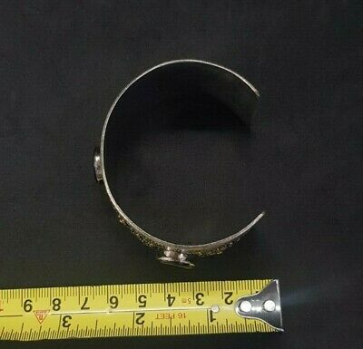 Silver plated And Brass Afghani Bangle With Black Agate Stone #761 7