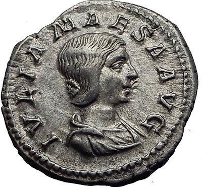 JULIA MAESA 218AD Ancient Authentic Silver Roman Coin Fecunditas Child i63447 2