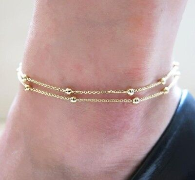 Ladies Girls Double Layer Bead Anklet Bracelet Chain Adjustable Gold Silver Uk 3