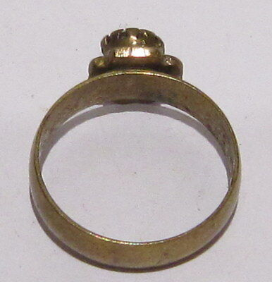VINTAGE NICE BRONZE RING WITH GREEN STONE FROM THE EARLY 20th CENTURY # 1B 5