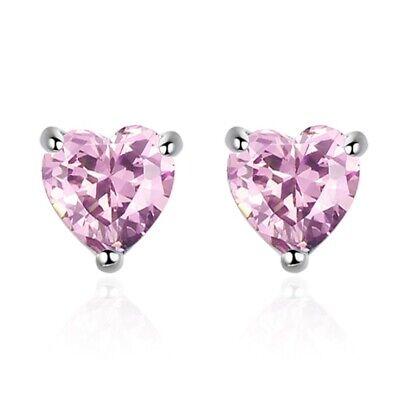Heart Charm Stone Stud Earrings 925 Sterling Silver Womens Girls Jewellery Gift 2