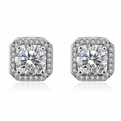 Crystal Square Stone Stud Earrings 925 Sterling Silver Womens Jewellery Gift New 2