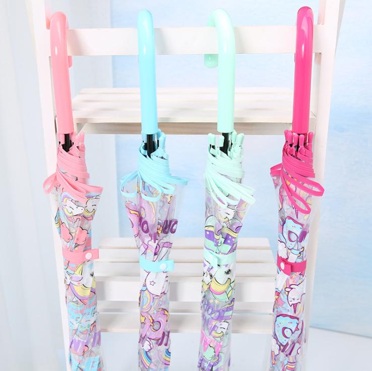 Unicorn Umbrella Kid Girls Colourful Pink Transparent Clear Bubble Dome School