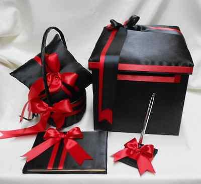 Wedding light gray hot pink flower girl basket ring pillow guest wedding black red flower girl basket ring pillow guest book pen gift card box mightylinksfo