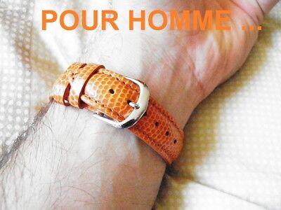 20 mm BRACELET POUR MONTRE EN CUIR VERITABLE COUSU GRAIN LEZARD GRIS