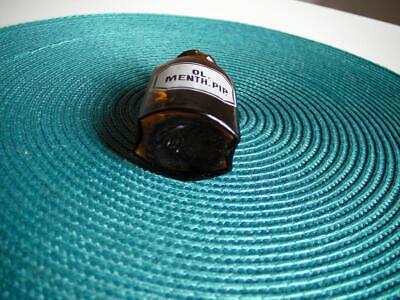 Apothekerflasche, Form selten, Oleum Menth. Pip. rund 4 Kanten, alt, emailliert 3