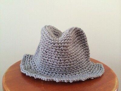 fd5a9f7993b2b ... HANDMADE Newborn Baby Boy Crochet Knit Fedora Hat   Ginger Yellow   Photo Prop 7