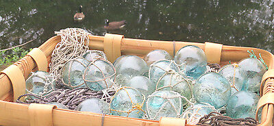 """Japanese Glass Fishing FLOATS 2/"""" Mixed LOT-8 4 Netted 4 No Net Tiki Tropical"""