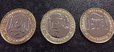 UNC Isle Of Man Coins Set 3x £2 Pounds 2019 D Day Montgomery Churchill George II 2