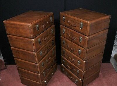 Pair Leather English Campaign Chest Drawers Colonial Tall Boys Luggage 3