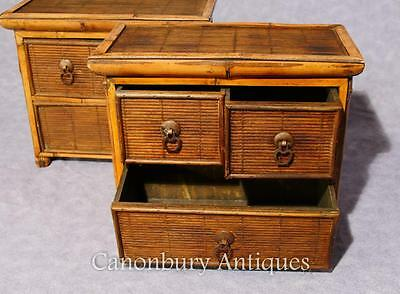 Pair Chinese Antique Bamboo Chest Drawers Mini Travelling Samples 1880 12