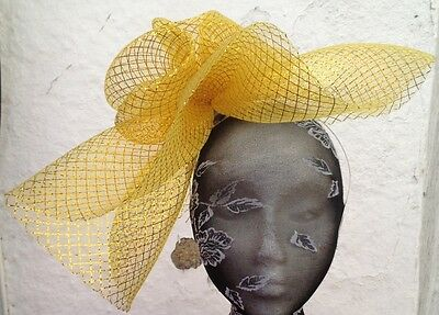 03a3a718 ... gold fascinator millinery burlesque wedding hat hair piece ascot race  bridal 1 2