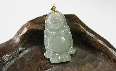 18K Natural JADE Certified (Grade A) Beautiful Icy Jadeite Small Buddha Pendant 9