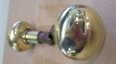 Fancy Pair Antique Victorian Polished Brass/bronze Door Knobs Ohio Estate # 43 2
