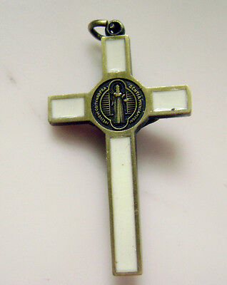 "Ancient bronze Enamel Crucifix 1.65 "" jesus cross Catholic rosary pendant 5"
