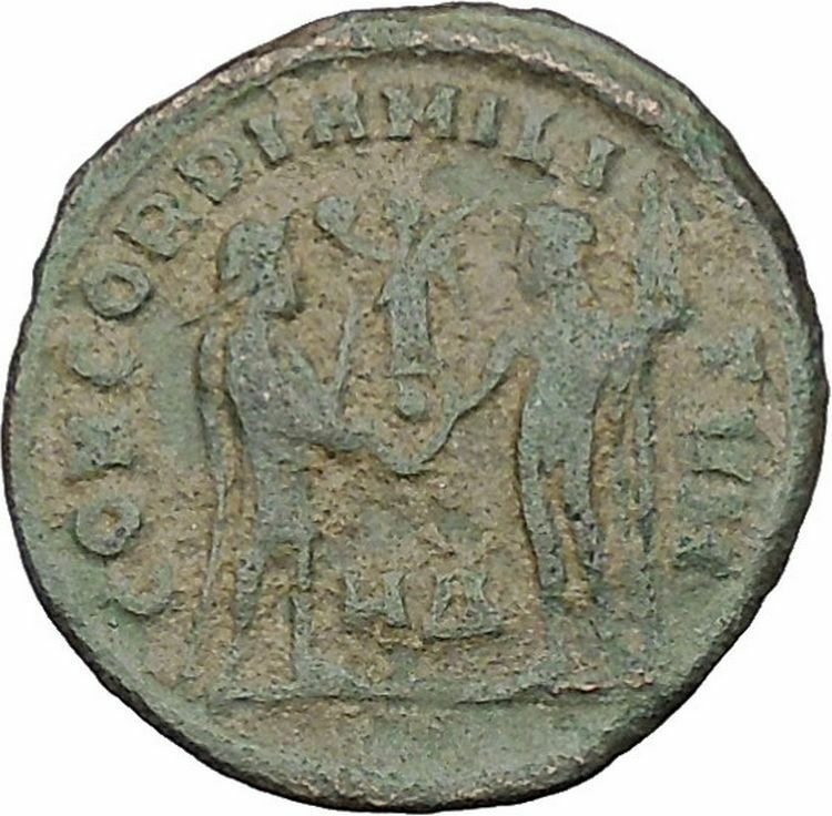 Diocletian receiving Victory from Jupiter 295AD Ancient Roman Coin i46441 2