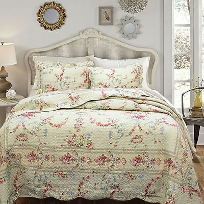 BEAUTIFUL RED GREEN PINK BLUE YELLOW CREAM ROSE ANTIQUE VINTAGE FLORAL QUILT SET