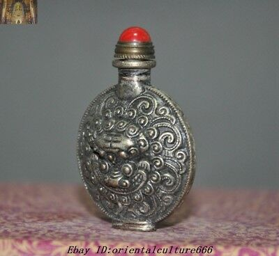 Collect Chinese Old Tibetan Silver Beast Tiger Head Statue snuff bottle 2