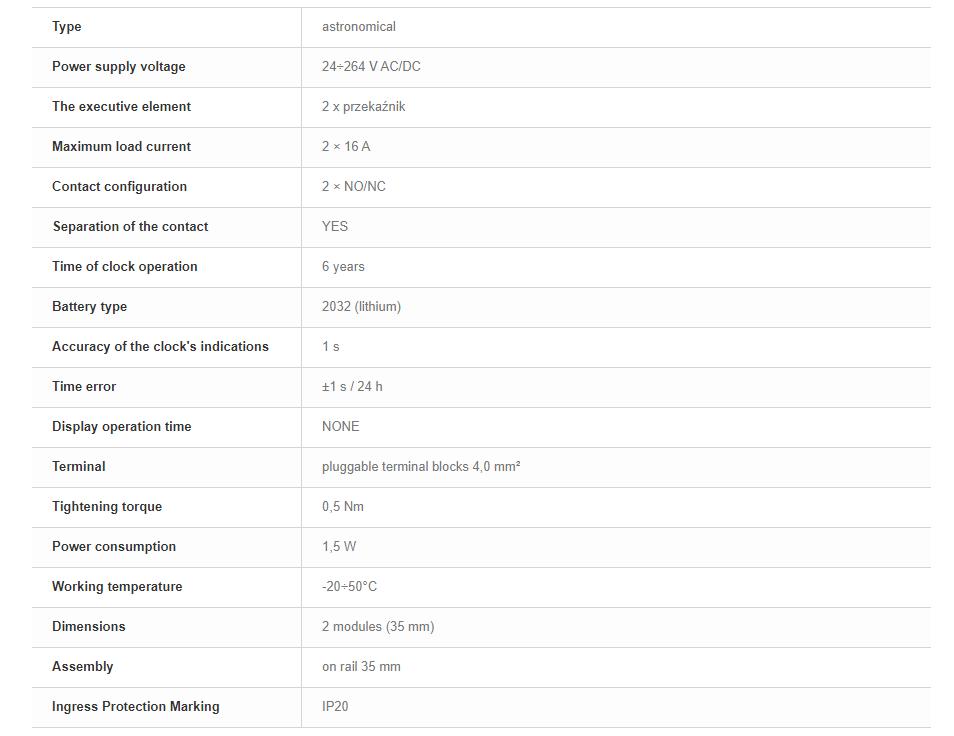 F&F PCZ-526.3 DIGITALE ASTRONOMISCHE ZEITSCHALTUHR NFC 24V ÷ 264V AC / DC 2x 16A 6