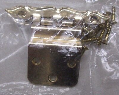 """NOS Vintage Lot of 10 Cabinet Hinges White & Gold 5 Packages 3 1/8"""" x 1/2"""" New 4"""