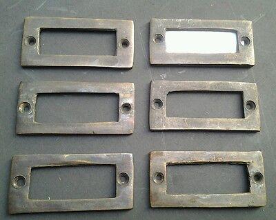 """6 antique vintage brass file cardholder label holder 2 3/16"""" x 1"""" #F3 3"""