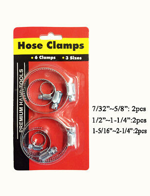 "10pcs 6pc Hose Clamp Clamps Clips Set 10 13 14 16 25 mm 7/32"" 1/2"" 2-1/4"" New 4"