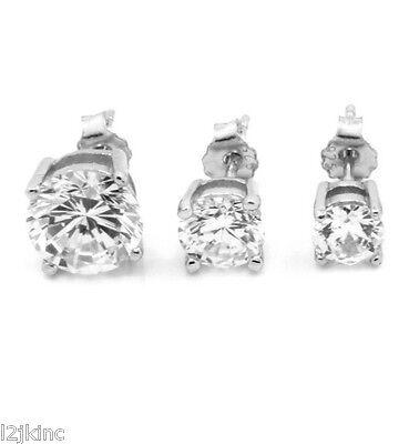 b51014859 Sterling Silver Princess Cut Round & Square CZ Basket Set Stud Earring.