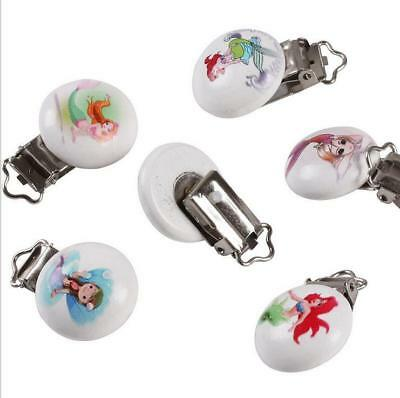 5X Mermaid pattern Baby Pacifier Clip Soother Clasps Holders Teether Accessories 4