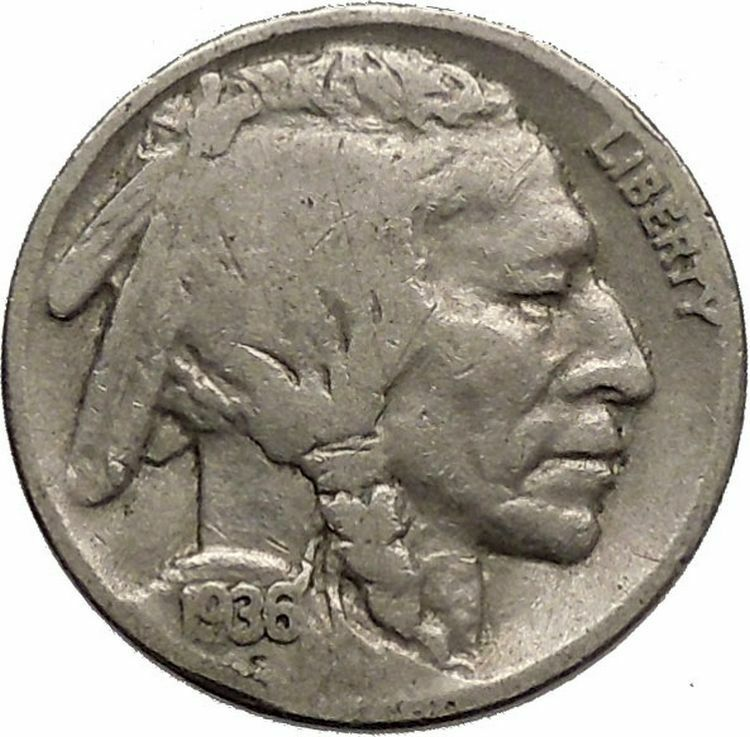 1936 BUFFALO NICKEL 5 Cents of United States of America USA Antique Coin i43818 2