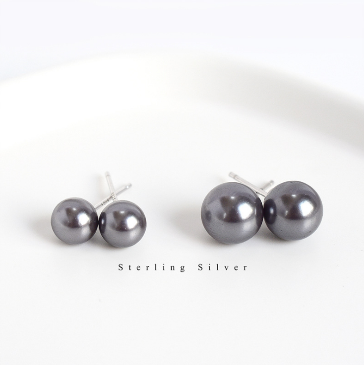 12MM Natural White Akoya South Sea Shell Pearl 925 Sterling Silver Stud Earrings