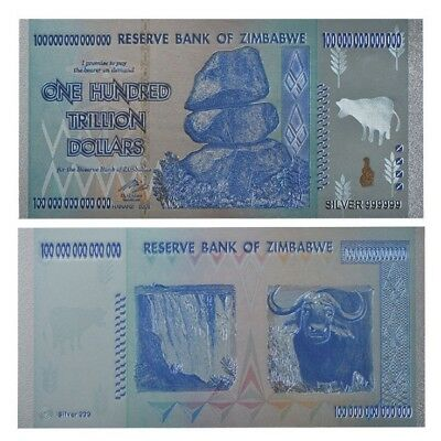 Zimbabwe 100 Trillion Silver Foil Banknote Coloured 3