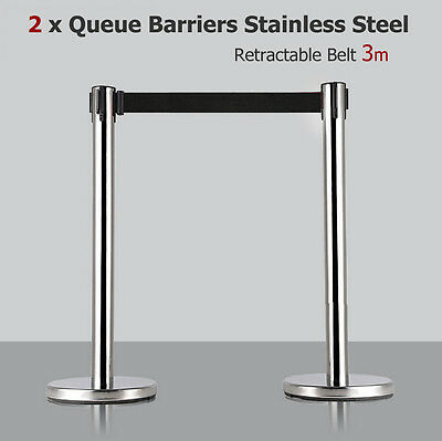 2x 3m Retractable Belt Queue Barriers Crowd Control Barrier Post Stand Stainless 2