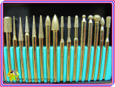 30 pcs TITANIUM coated THK Diamond rotary burr burrs points point grinder TYPE 3 3