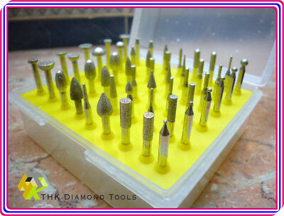 50 pcs Diamond coated rotary SMALL head burrs points grinding mounted GRIT 120 3