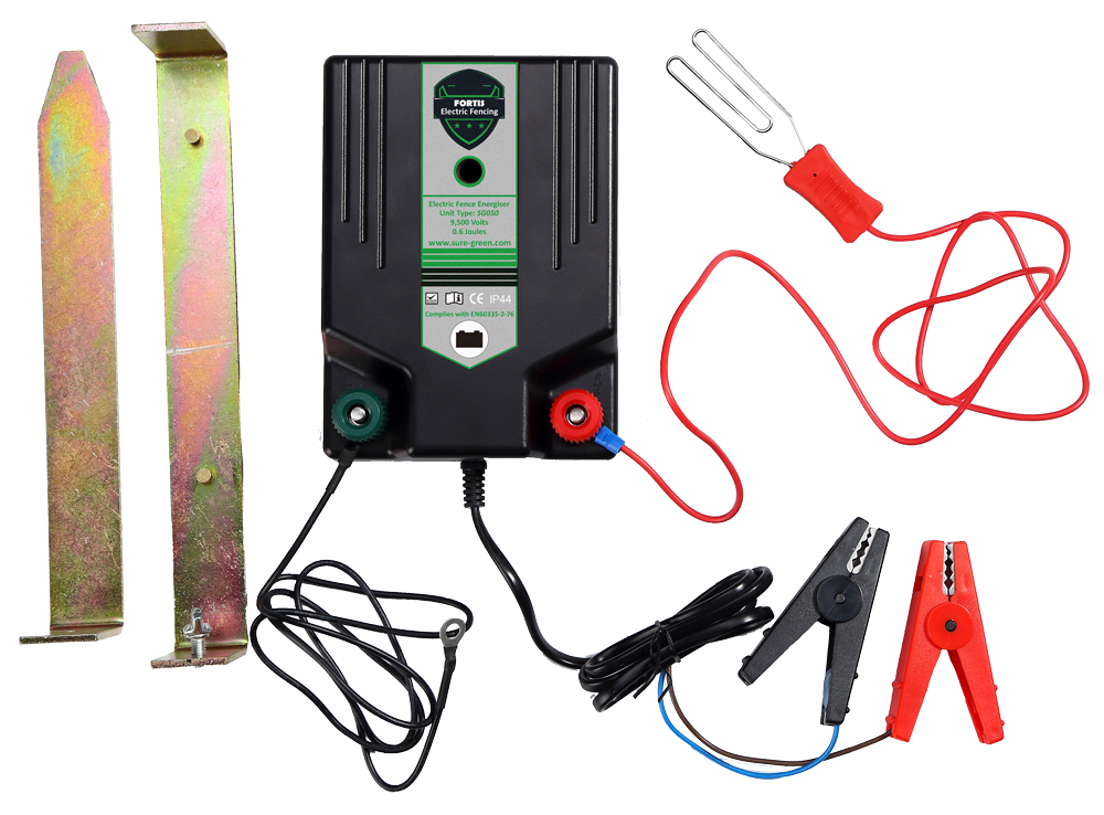 Electric Fence Energiser 12V Battery Power Unit 0.6J with Leads Paddock Fencing