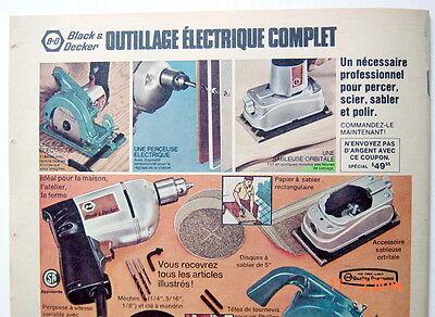 """1 ANCIENNE PUB DES OUTILS BLACK & DECKER DE 1970, GRAND FORMAT 12¼""""x10½"""" 2"""