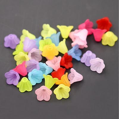 100pcs Mixed Flower Frosted Acrylic Spacer Beads Caps For Jewelry Making 14mm 3