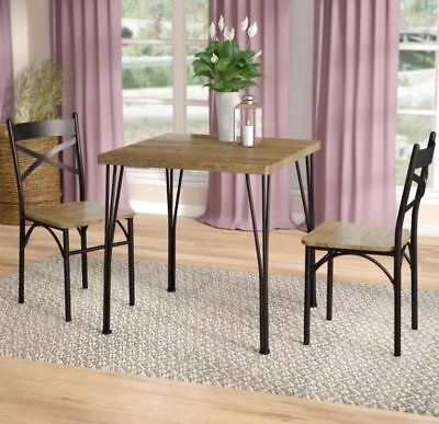 FARMHOUSE DINING TABLE Set Small Rustic 3 Piece Wood Metal ...
