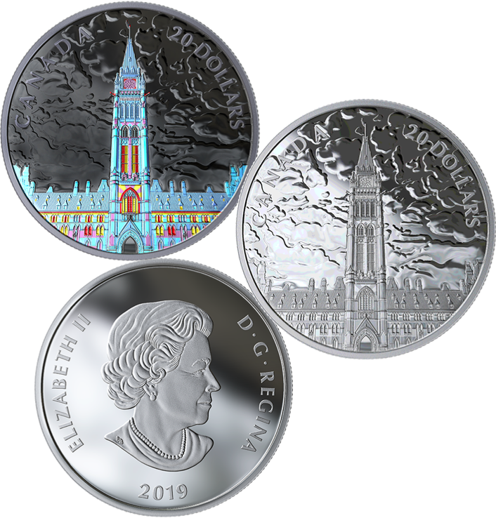 2019 Northern Lights Parliament Hill Glow-Dark $20 1OZ Silver Proof Coin Canada 2
