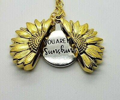 """You Are My Sunshine"" Sunflower Open Locket Pendant Womans Necklace Jewelry Gift 8"