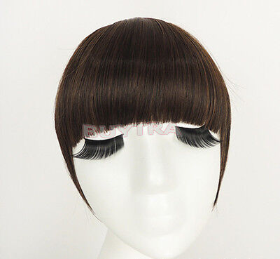 Classic frange clip in on Bangs Straight cheveux brun perruque cheveux noirs~PL 3