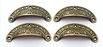 """6 Antique vtg. Style Victorian Brass Apothecary Bin Pulls Handles 3-7/16""""w.  #A5"""